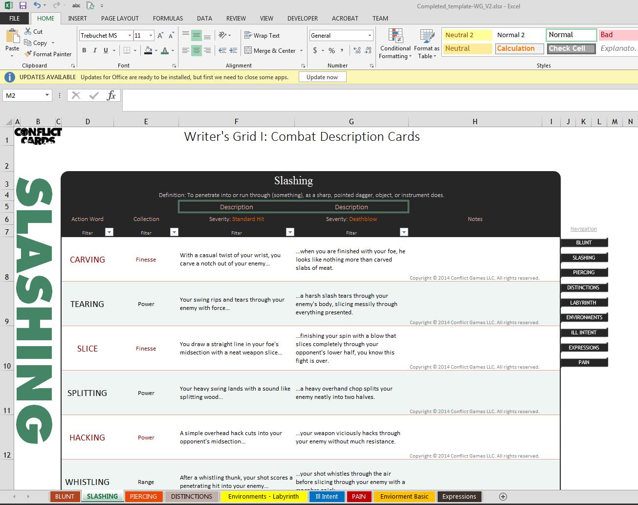 Screenshot of Combat Description Cards and Storyteller's deck in excel